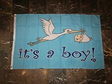 3x5 Advertising Its A Boy Baby Stork Gender Flag 3'x5' Banner Brass Grommets