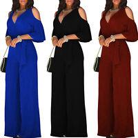 Stylish Womens Jumpsuit Romper Short Sleeve V Neck Cold Shoulder Wide Leg Pants