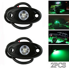 2 Green LED Rock Light JEEP Off-road Truck Under Body Trail Rig Light Waterproof