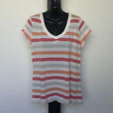 'SUSSAN' VGC SIZE 'L' ORANGE, RED, GREY & WHITE  STRIPED CAP SLEEVE 'V' NECK TOP