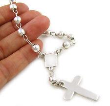 925 Argento Sterling Religioso Rosario e Croce Braccialetto Catena