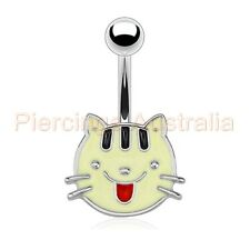 Pussy Kitty Cat Face Belly Button Barbell Navel Bar Ring Body Piercing Jewellery