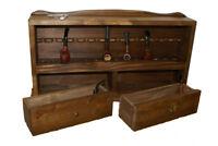 Portapipe 14 posti legno massello noce 2 cassetti tabacco parete muro tavolo