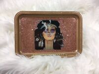 Custom Rolling Tray Gold Rose Gold Glitter Hippie Chic Smoking Girl