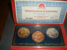 1988 SUMMER GAMES SEOUL, KOREA 3 PC COMMEMORATIVE MEDAL COLLECTION