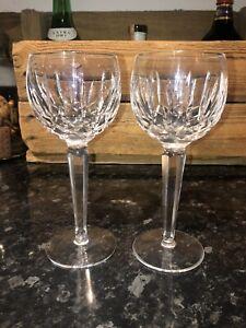 2 x Waterford crystal hock drinking wine glasses- Kildare pattern