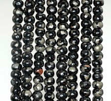 6X4MM BLACK JET WITH PYRITE INCLUSION GEMSTONE RONDELLE LOOSE BEADS 16""