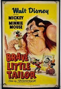 BRAVE LITTLE TAILOR Movie Poster (Fine) One Sheet '50RR WALT DISNEY Mickey Mouse