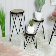 Set 3 nested side tables plant stands rustic retro contemporary living room hall