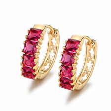 Luxury Laurel Square Ruby Red Sapphire 18K Yellow Gold Filled Lady Hoop Earrings
