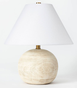 NEW Studio McGee Medium Table Lamp Faux Wood Brown Light Target Threshold 2021
