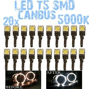 N 20 LED T5 5000K CANBUS SMD 5050 DEPO FK Angel Eyes Headlights Ford Focus 2 1D2