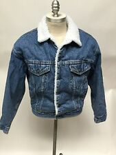 Vintage Levi's Denim Jean Sherpa Lined USA Made Truckers Jacket Mens Size Small