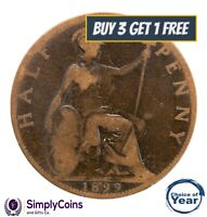 1860 TO 1901 QUEEN VICTORIA VICTORIAN HALFPENNY 1/2D - CHOICE OF YEAR / DATE