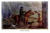FOX HUNTER ON HORSEBACK & DOGS MEET THE EARTH STOPPER AT DAWN, FOX HUNTING PRINT