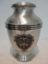 437Navy Shield Funeral Cremation Urn- free Plate!