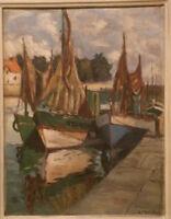Marine tableau huile sur panneau signé Monfort Bretagne Normandie Port de pêche