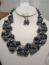 Black Ab Faceted Glass Bead Necklace earring Set