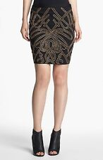 Haute Hippie Beaded Pencil Skirt in Black/Bronze Cocktail $495.00 Size 6  M