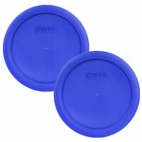"Pyrex 7201-PC 6"" Cobalt Blue 2 Pack Plastic Cover Lid New for 4 Cup Glass Bowl"