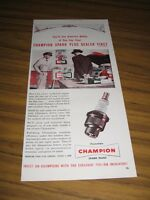 1954 Print Ad Champion Gas Station Mechanic Shows Customer Spark Plugs