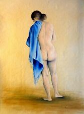 Bea back nude with blue scarf, painted with oil, b3 canvas