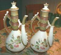 "Lot of 2 Antique Royal Rudolstadt Porcelain Hand Painted Ewer stopper 14.5"""