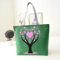 Women Canvas Handbag Tote Large Capacity Zipper Shoulder Bag Shopping Gift Hot