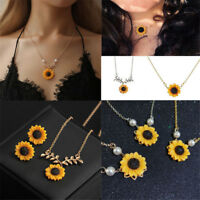 Sunflower Pearls Women Pendant Necklace Earring Imitation Sweater Chain Jewelry