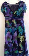 Jones New York Short Sleeve Dress Floral Chiffon Lined Multi-Color 100% Silk 10