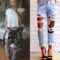 Women Hole Destroyed Ripped Distressed Slim Denim Pants Boyfriend Jeans Trousers
