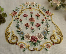 "Vtg 27"" PREWORKED Needlepoint Canvas Petit Point ~FRENCH Chair Cover Pink Roses"