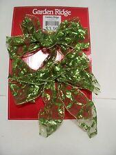 2 Chartruce Green Sheer Bows Decoration Christmas St.Patricks Day