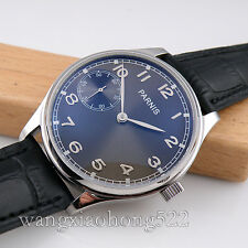 44mm Parnis black dial Special 6 hand winding mechanical leather men Watch 455