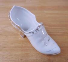 "Vintage Porcelain Ceramic White 6"" Long Shoe with Worn Gold Trim ""Think of Me"""