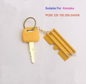 Lock Key W/Key Chain For Komatsu PC60 120 150 200-3/4/5/6 Excavator Pure Copper