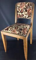 Ancienne chaise bois et tissus capitonnée XXème- Motifs floraux roses