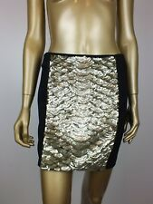 WITCHERY SKIRT GOLD SEQUIN EMBELLISHED BODYCON TUBE SKIRT 10