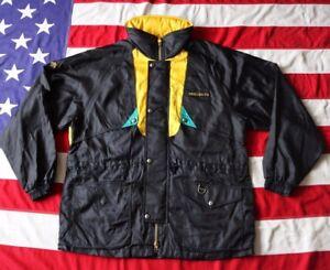 RARE! VINTAGE 90's DESCENTE SKI WINTER JACKET COAT XL BLACK GOLD GREEN ENTRANT