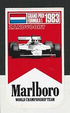 ORIGINAL MARLBORO TEAM McLAREN ZANDVOORT DUTCH 1983 PERIOD STICKER AUTOCOLLANT