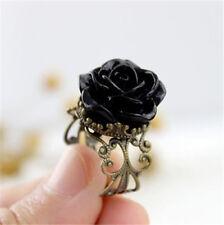 Anillo Gótico Victoriano Vintage aperturas de resina negra Rosa Anillo Tamaño Libre