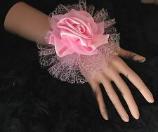 New Bespoke Pink Satin Rose Wrist Corsage Bride,Bridesmaid, Wedding, Proms Races