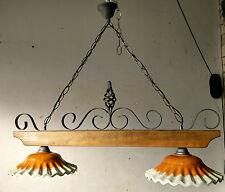 Lampadario bilanciere Rustico in ferro battuto legno massello terracotta rustici
