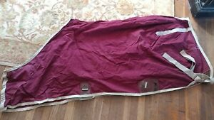 """72"""" Maroon Unbranded Cotton Stable Sheet-Used"""