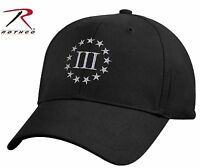 Rothco Black III Three Percenter Revolutionary Patriots Baseball Cap Hat 8997