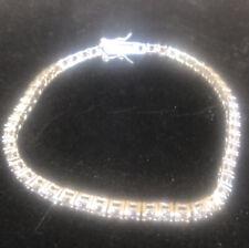 "925 Sterling Silver Cz Tennis Bracelet 7.5 "" 8.7 G"