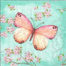 4 Single paper decoupage napkins. Big,beautiful butterfly, letters, flowers-438