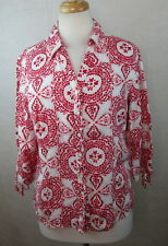 JM COLLECTION WOMENS PETITES 12P BUTTON DOWN SHIRT TOP BLOUSE LINEN BOHO PAISLEY