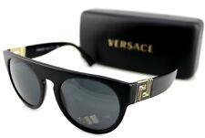 Genuine Versace Black Gold Grey Lens Aviator Sunglasses Ve 4333 Gb187