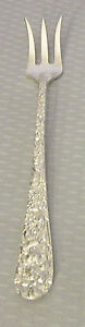 antique 1892 STIEFF STERLING ROSE REPOUSSE OYSTER SEAFOOD COCKTAIL FORK mono D